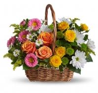 Cesta de flores Arcoíris