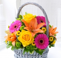 Cesta de Flores Exóticas