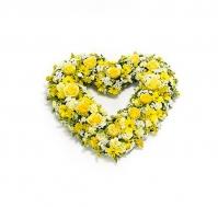 Corazón abierto amarillo y blanco