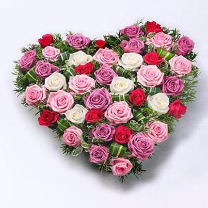 Corazón rosas de colores